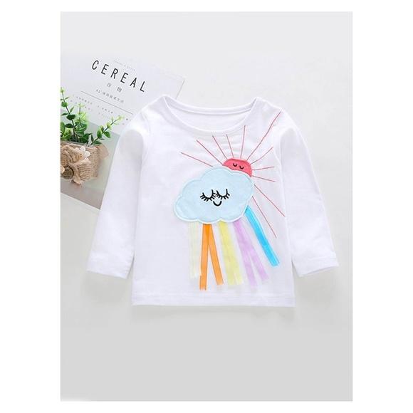 33b743b91 One Rainbow Shirts & Tops | White Clouds Rainbow Long Sleeve Tshirt ...